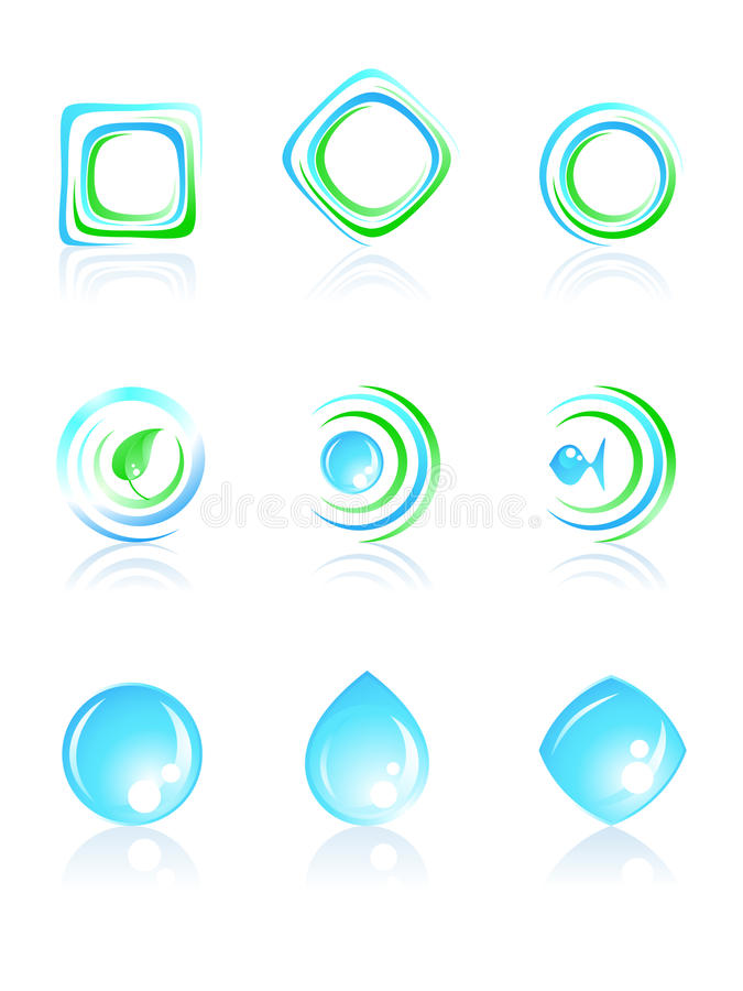 Download Nature logos. stock vector. Image of leaf, blue, spiral - 19349012