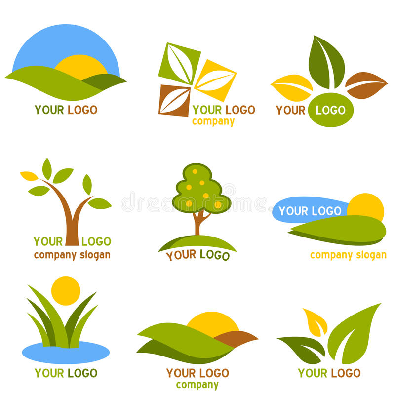 Nature Logos Set. Collection of nine colorful nature logos or icons, isolated on white background. Eps file available