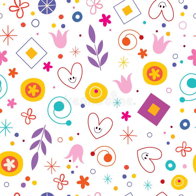 Free Nature Love Happiness Fun Cartoon Seamless Pattern Royalty Free Stock Images - 67066009