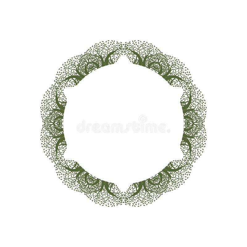 Nature Mandala Abstract Vintage Frame Design de feuille illustration libre de droits