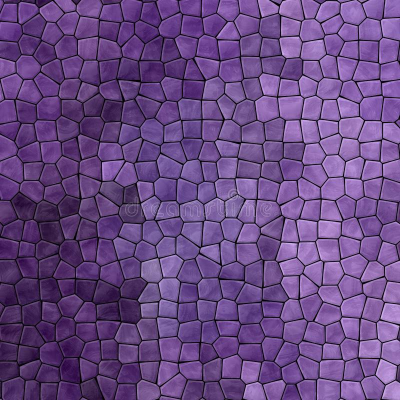 Nature marble plastic stony mosaic tiles texture background with black grout - dark ultra violet lavender purple colors. Abstract nature marble plastic stony stock illustration