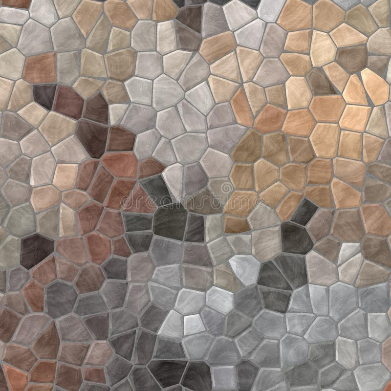 Nature marble plastic stony mosaic tiles texture background with gray grout - beige colors stock illustration