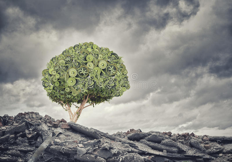 Nature mechanisms. Green concept with tree made of gears royalty free stock images