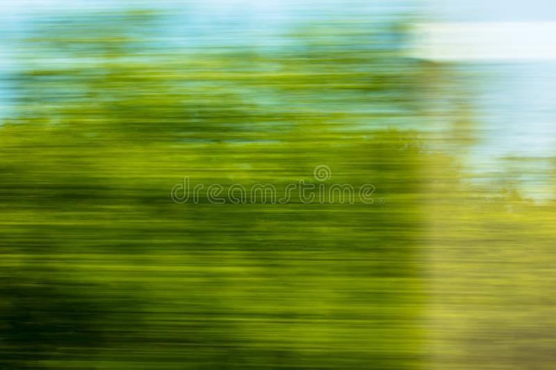 Nature in motion from the train window stock photo