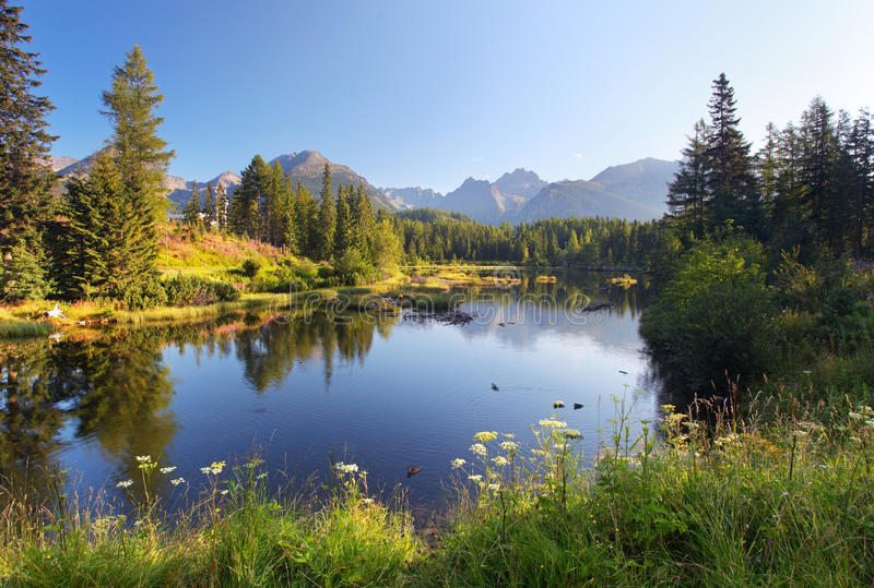 Nature mountain scene with beautiful lake in Slovakia Tatra royalty free stock photos