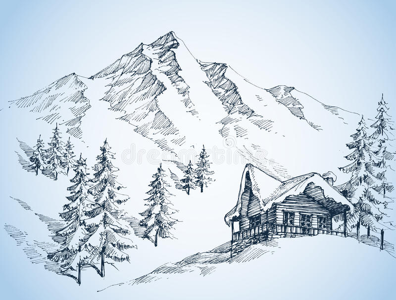 Nature in the mountains sketch stock illustration
