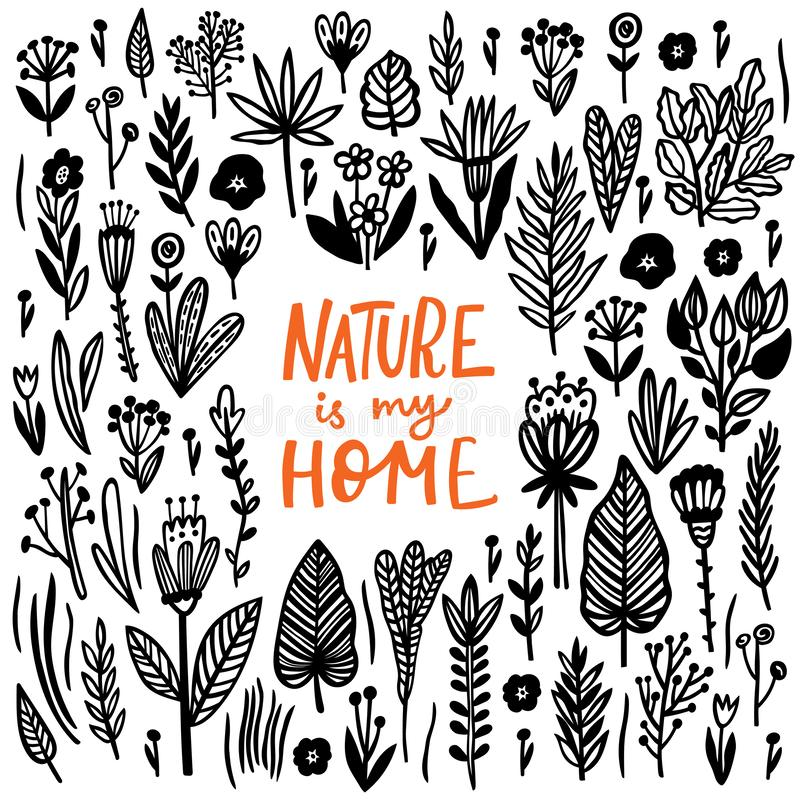 Nature is my Home Lettering quote card with handdrawn floral elements royalty free illustration