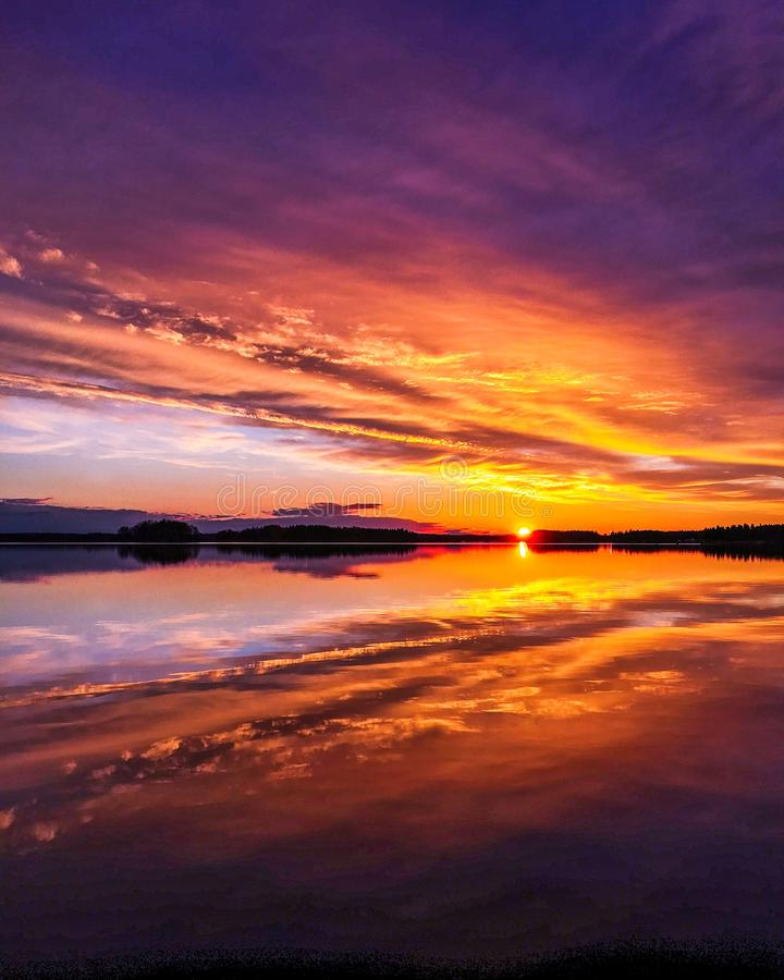 The sky is on fire stock photography
