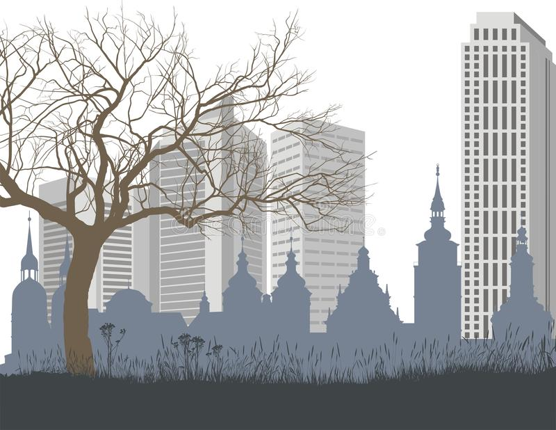 Download Nature, The Old And New City Stock Vector - Illustration of vegetation, tree: 29605672