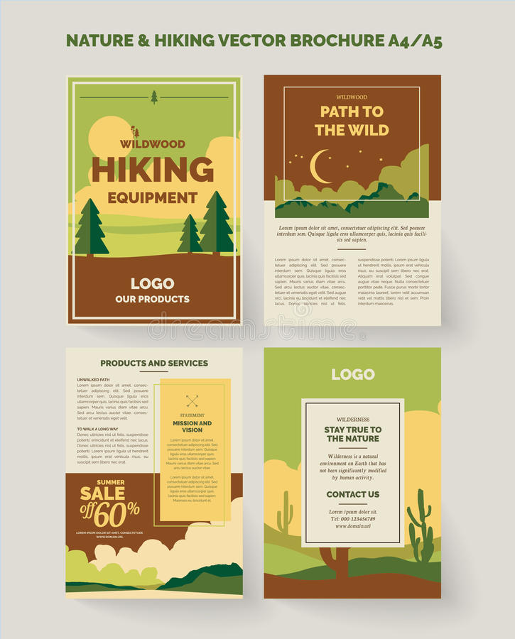 Nature and outdoors brochure and flyer design royalty free illustration