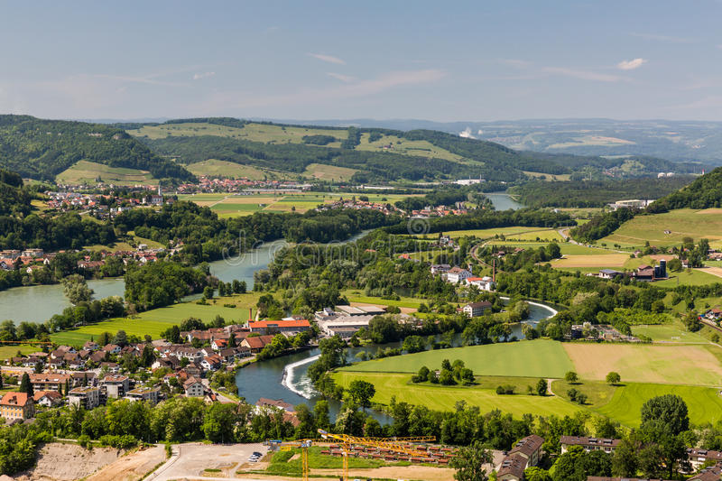 Nature overlook with rivers in Switzerland. View to the Water Castle, an area where tree big swiss rivers come together near Brugg, Aargau, Switzerland royalty free stock photo