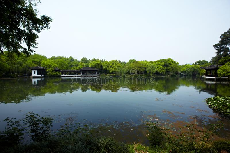 Nature park scenery, Hangzhou. Nature park scenery in spring, Hangzhou, Xihu lake, China, plants and water royalty free stock photos