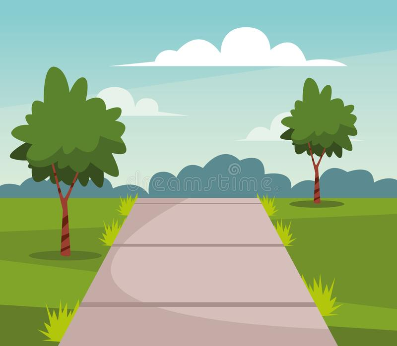 Nature park with trees and path scenery cartoon. Nature park with trees and path scenery at sunny day cartoon vector illustration graphic design stock illustration