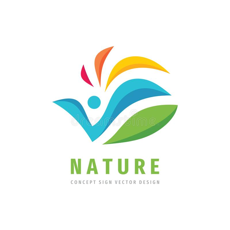 Nature people concept design Abstract human character with leaves - creative logo sign Positive decorative vector logo symbol 皇族释放例证