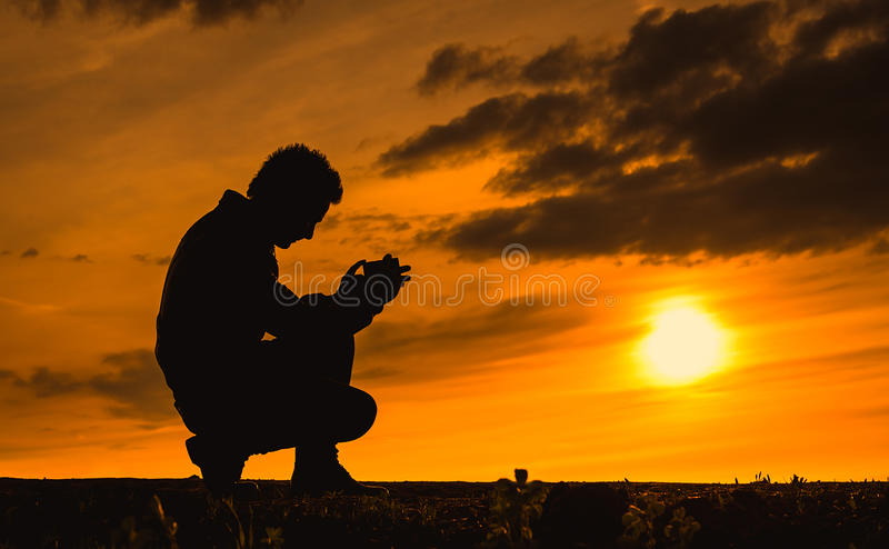 Nature photographer silhouette the sunset stock image