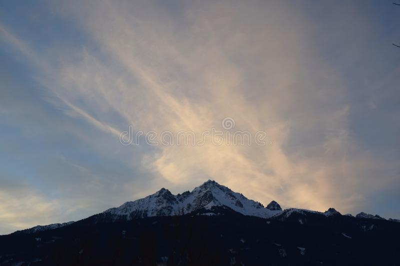 Large mountain in the background stock photos