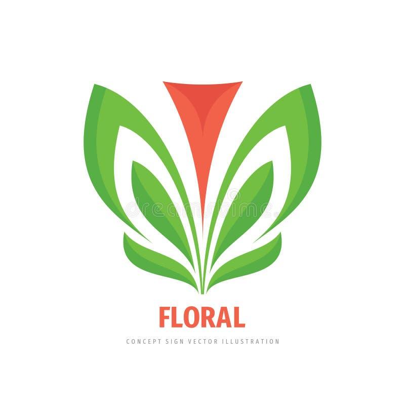 Nature pink flower and green leaves - concept logo design. Floral sign. Vector illustration. stock illustration