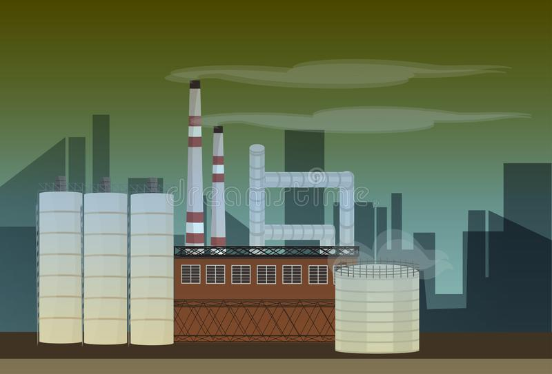 Nature pollution plant pipe dirty toxic smoke waste air and water polluted environment flat royalty free illustration