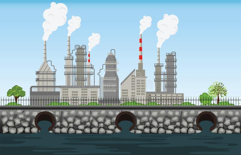 Nature pollution plant pipe dirty waste air and water polluted e royalty free illustration