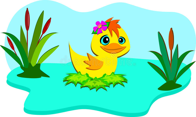 Nature Pond with Cute Duck