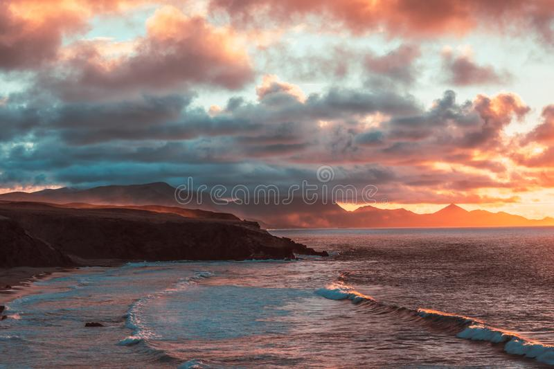 Nature poster. ocean view. sunset on the beach stock images