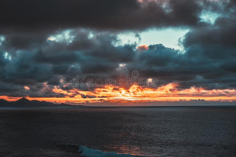 Nature poster. ocean view. sunset on the beach royalty free stock image