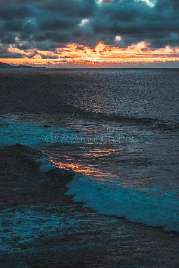 Nature poster. ocean view. sunset on the beach stock image