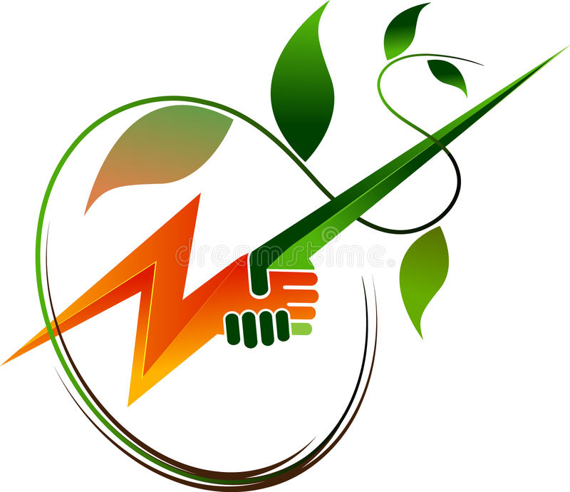 Nature power. Green power concept design on a isolated white background stock illustration