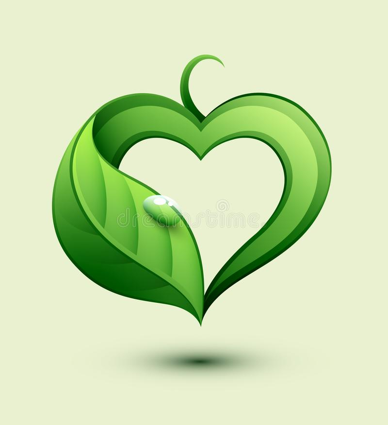 Nature protection concept. Leaf in a heart shape. vector illustration