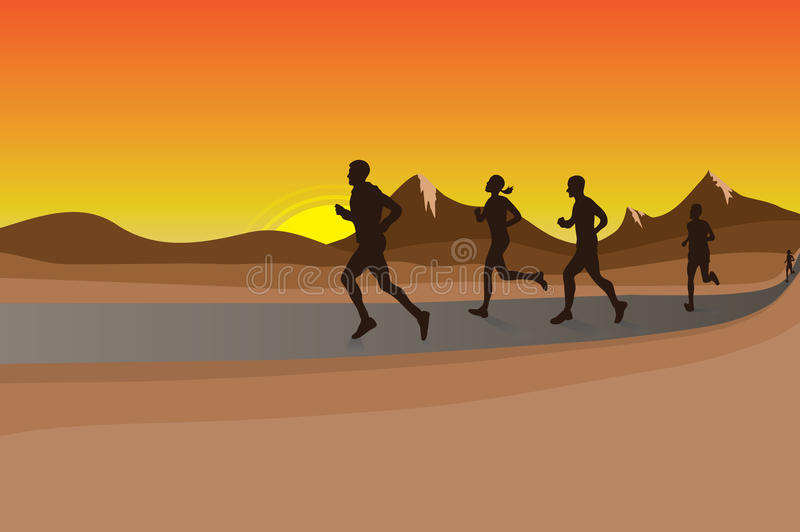 Nature Race. Runners doing marathon with sunset sky background stock illustration