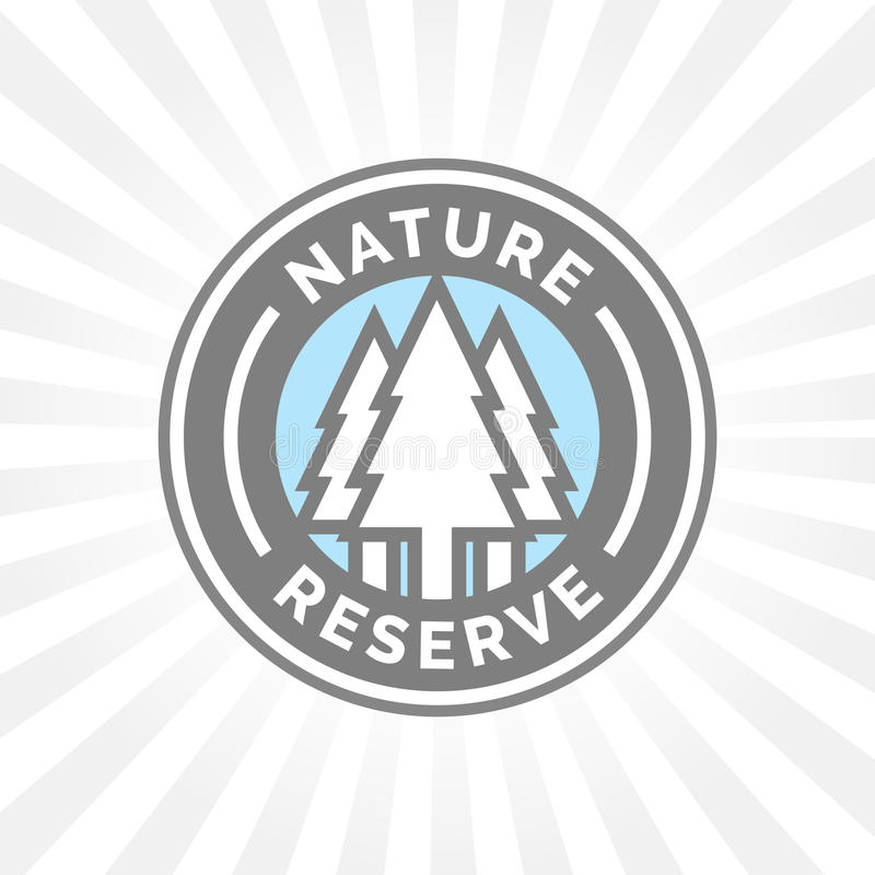 Nature reserve icon badge. Protected forest sign. Trees silhouette. Nature reserve icon badge. Protected conservation forest sign. Trees silhouette symbol badge stock illustration