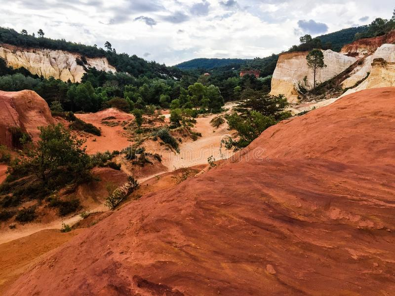 Nature reserve with red sand in France stock photo