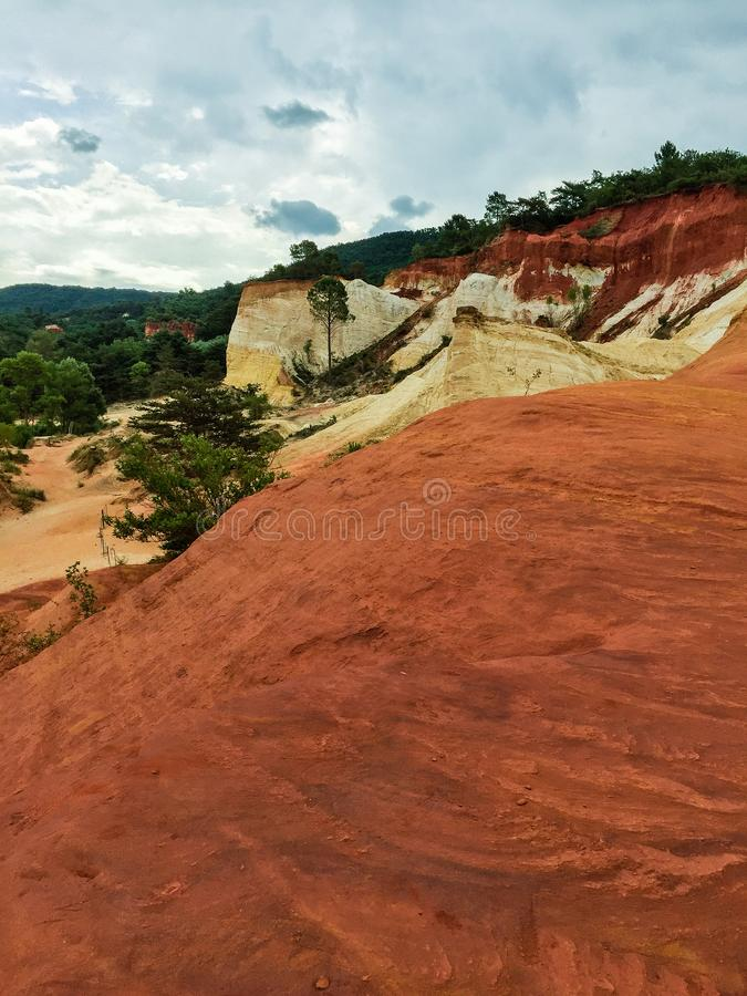 Nature reserve with red sand in France stock image