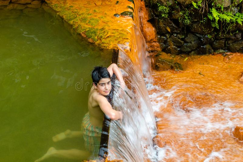 Nature rich in thermal waters, minerals and strong colors flow f royalty free stock photo