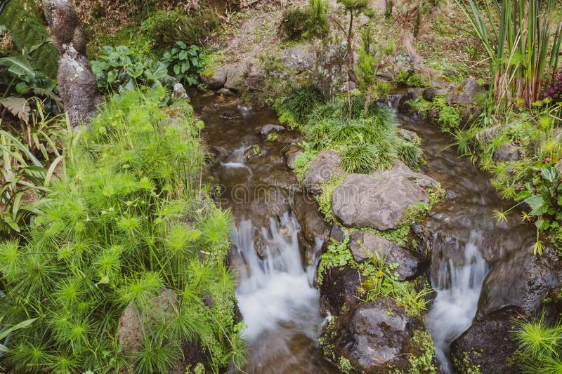 Nature rich in thermal waters, minerals and strong colors flow f royalty free stock images