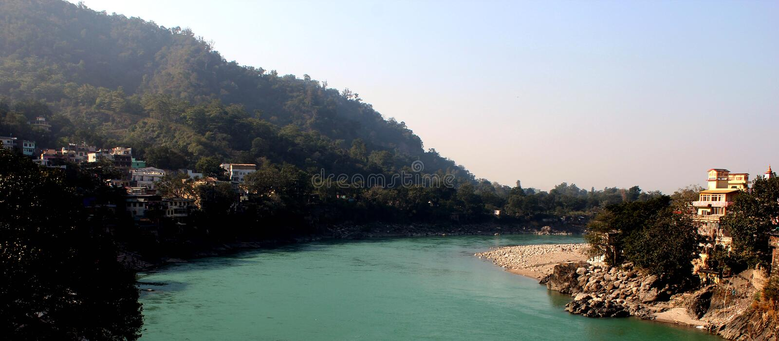 Nature Rishikesh. Rishikesh. Rishikesh, a most tranquil place in northern Uttarakhand, surrounded by hills and bisected by the wide and sluggish Ganges royalty free stock images