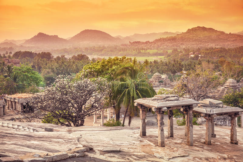 Nature and ruins in Hampi stock image