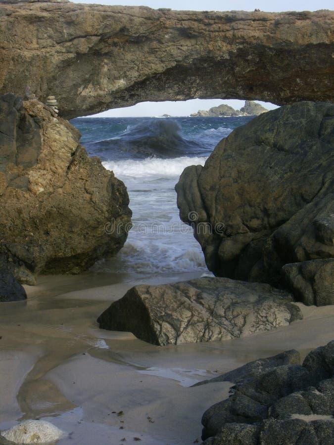 Nature's Bridge in Aruba stock photo