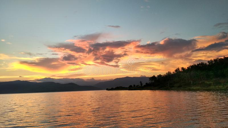 Nature and sunset water. Nature`s mode  Mount water sunset other royalty free stock photo