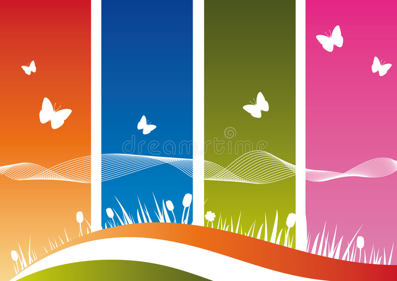 Nature's Silhouette on Colorful Background royalty free stock image