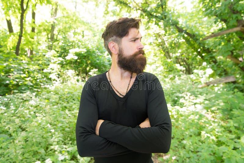 Nature sauvage Fond lumineux de feuillage de hippie barbu d'homme Le type détendent en nature l'explorant de forêt Homme bel avec image stock