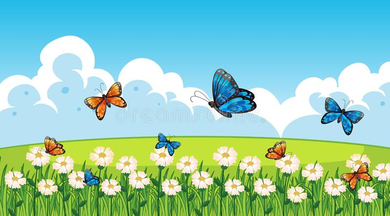 Nature scene background with butterflies flying in garden stock image
