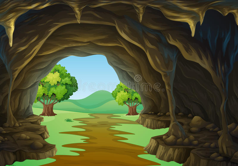 Nature scene of cave and trail royalty free illustration