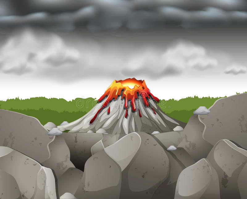 Nature scene with dark sky over volcano. Illustration royalty free illustration