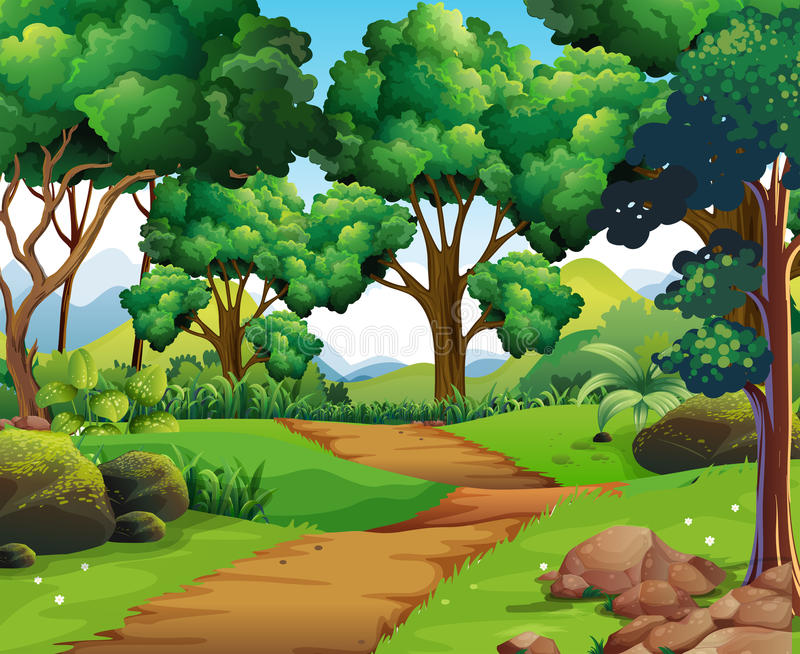 Nature scene with hiking track and trees. Illustration royalty free illustration