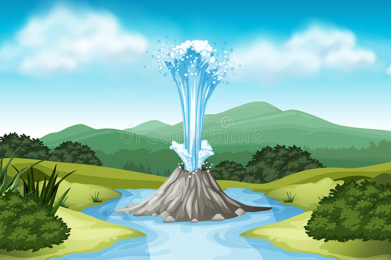 Nature scene with hot spring and field stock illustration