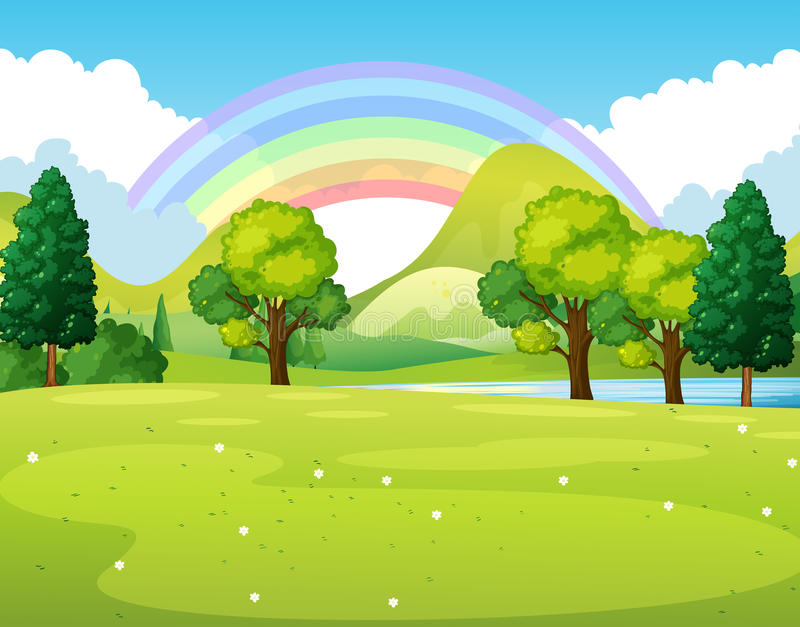 Nature scene of a park with rainbow stock illustration