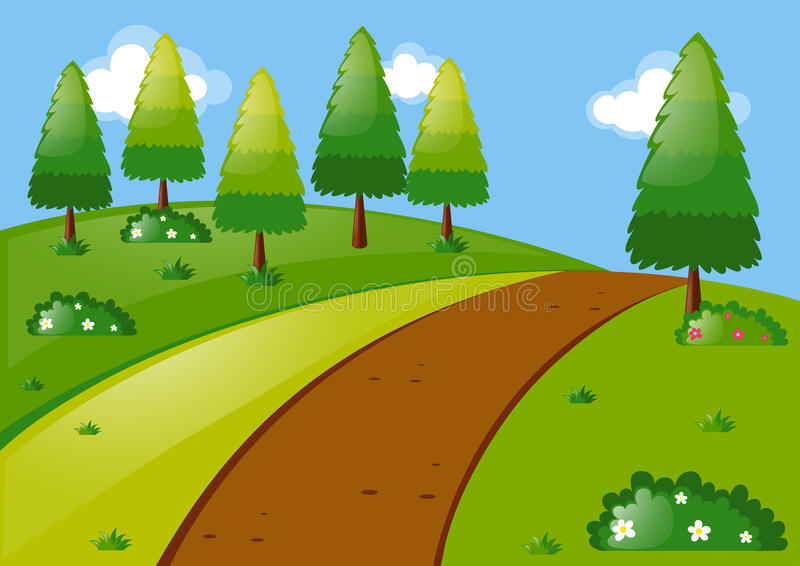 Nature scene with pine trees in park stock illustration