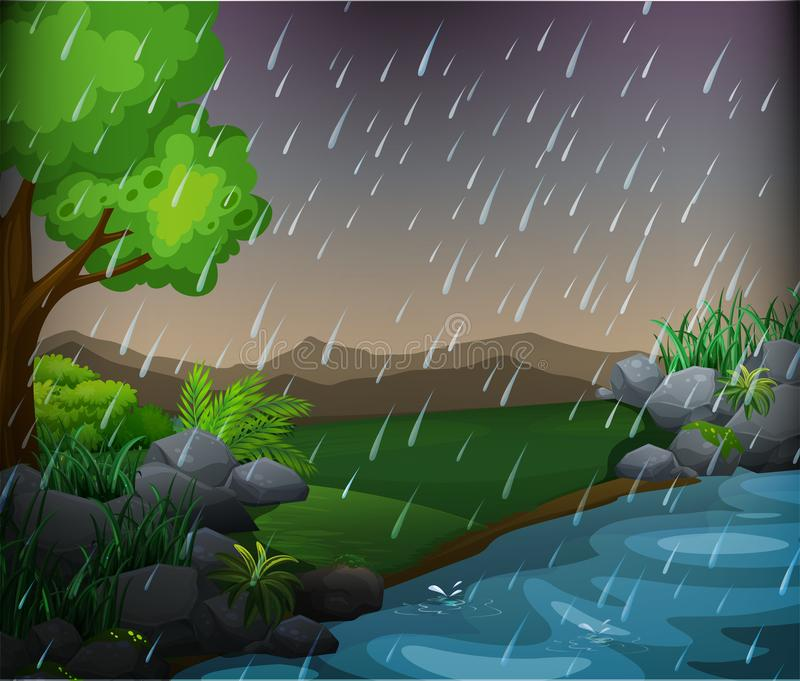 Nature scene with rainy day in the park stock illustration