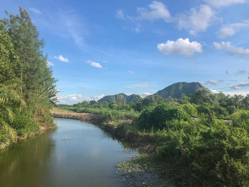 Scene river and mountain at Phatthalung, Thailand. Nature scene river and mountain at Phatthalung, Thailand royalty free stock images